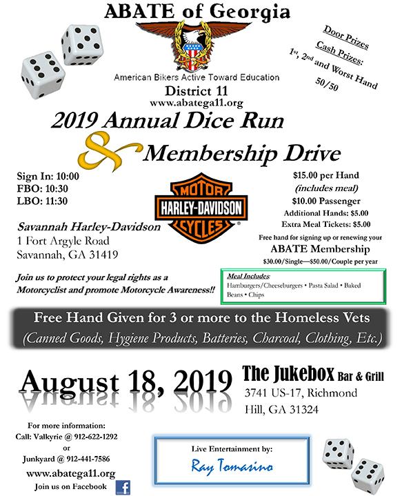 ABATE of Georgia, District 11 Dice Run @ Savannah Harley-Davidson | Savannah | Georgia | United States