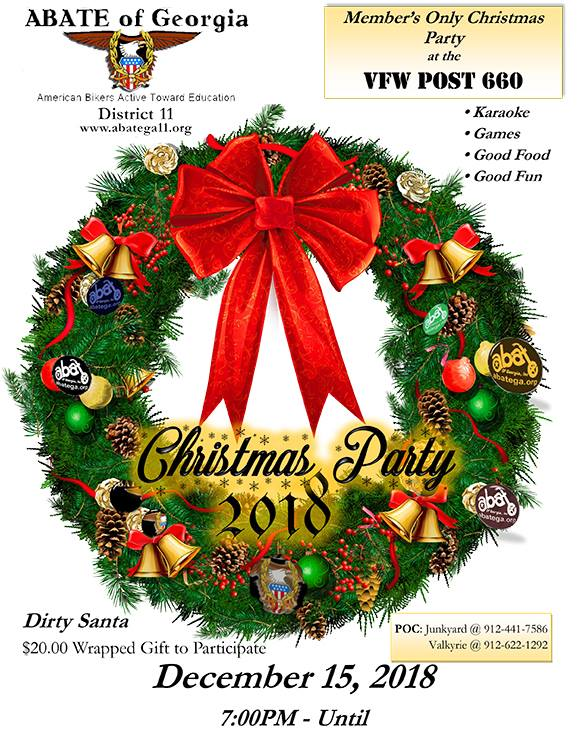 ABATE of Georgia, District 11 Christmas Party @ VFW Post 660