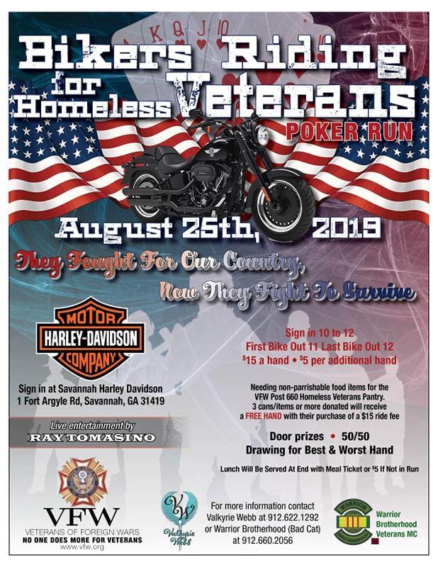 Bikers Riding for Homeless Vets Poker Run @ Savannah Harley-Davidson | Savannah | Georgia | United States
