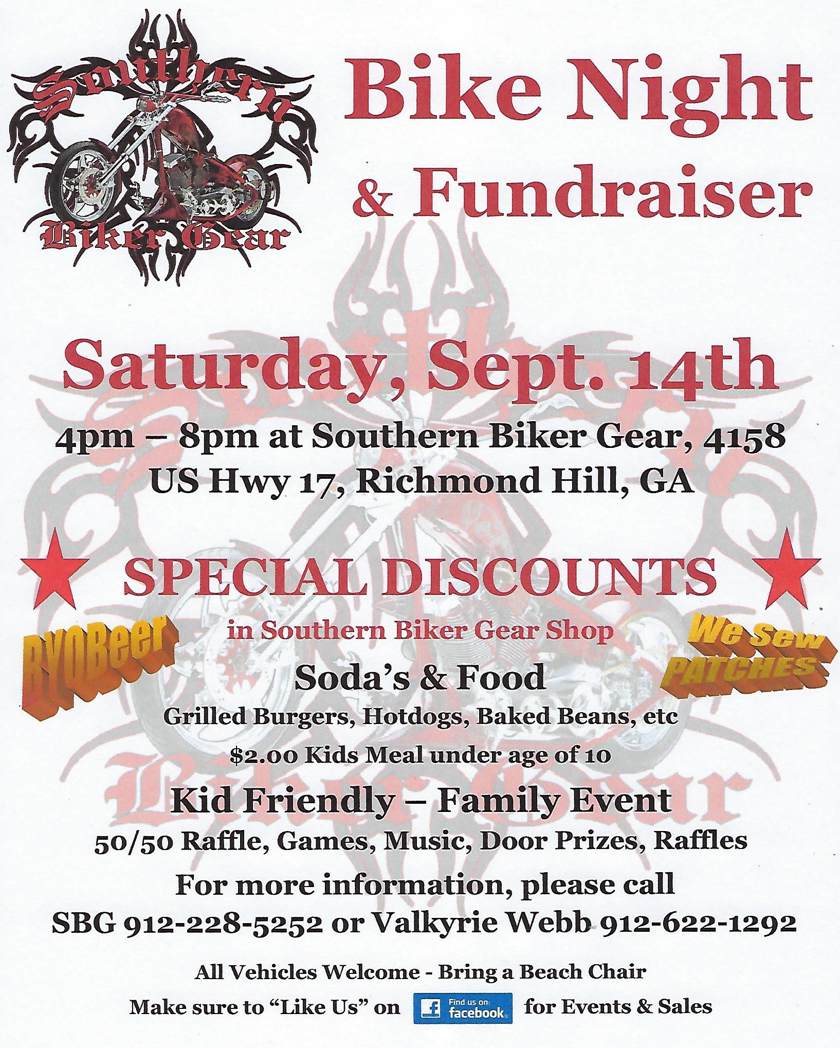 Southern Biker Gear Bike Night & Fundraiser @ Southern Biker Gear | Richmond Hill | Georgia | United States