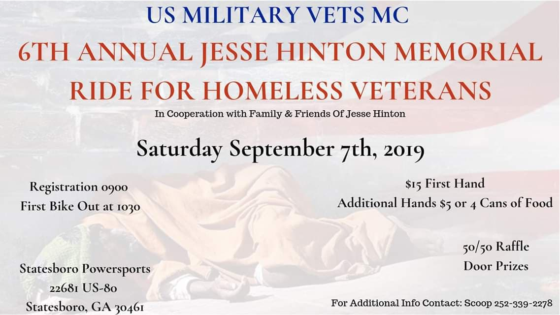 USMV MC 6th Annual Jesse Hinton Memorial Ride for Homeless Vets @ Statesboro Powersports | Statesboro | Georgia | United States