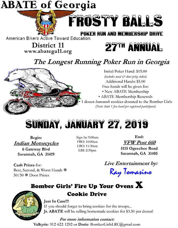 ABATE of Georgia, District 11 Frosty Balls Poker Run @ Indian Motorcycles