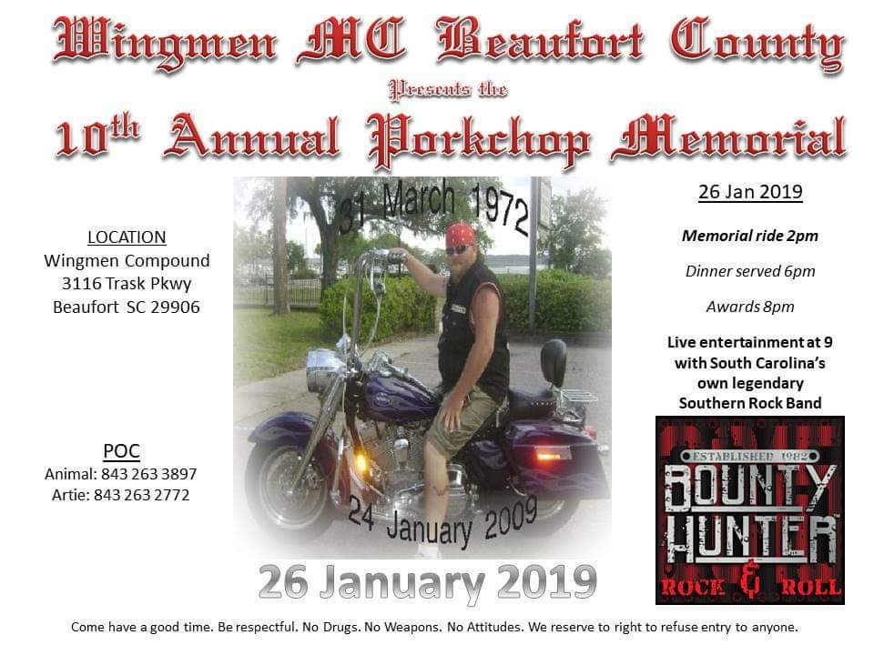Beaufort Co. Wingmen Pork Chop Memorial @ Wingmen Compound | Beaufort | South Carolina | United States